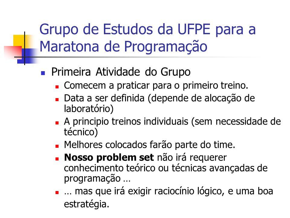 Grupo de Estudos da UFPE para a Maratona de Programação Primeira Atividade do Grupo Comecem a praticar para o primeiro treino.