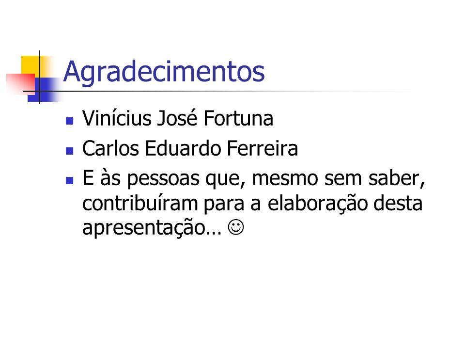 Agradecimentos Vinícius José Fortuna Carlos Eduardo Ferreira E às pessoas que, mesmo sem saber, contribuíram para a elaboração desta apresentação…