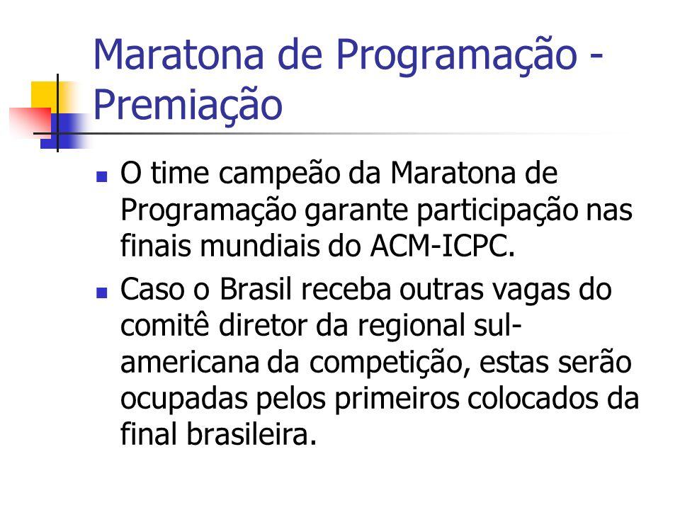 Maratona de Programação - Premiação O time campeão da Maratona de Programação garante participação nas finais mundiais do ACM-ICPC.