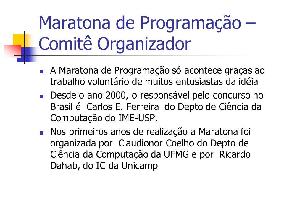 Maratona de Programação – Comitê Organizador A Maratona de Programação só acontece graças ao trabalho voluntário de muitos entusiastas da idéia Desde o ano 2000, o responsável pelo concurso no Brasil é Carlos E.
