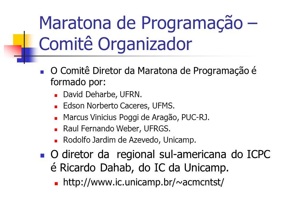 Maratona de Programação – Comitê Organizador O Comitê Diretor da Maratona de Programação é formado por: David Deharbe, UFRN.