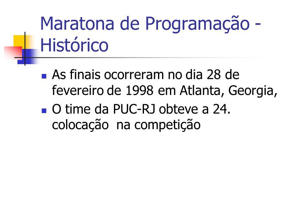 Maratona de Programação - Histórico As finais ocorreram no dia 28 de fevereiro de 1998 em Atlanta, Georgia, O time da PUC-RJ obteve a 24.