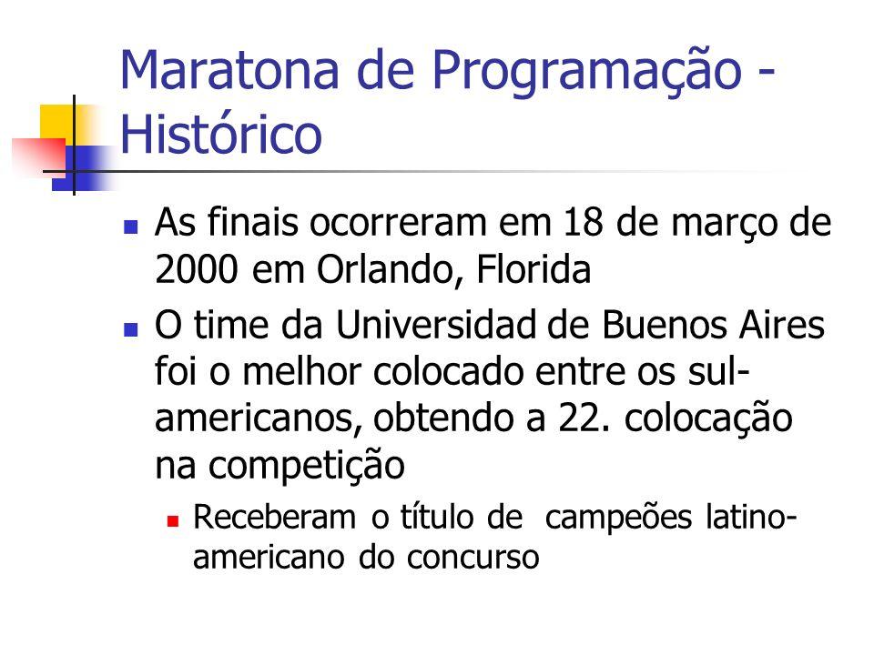 Maratona de Programação - Histórico As finais ocorreram em 18 de março de 2000 em Orlando, Florida O time da Universidad de Buenos Aires foi o melhor colocado entre os sul- americanos, obtendo a 22.