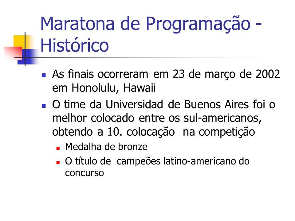 Maratona de Programação - Histórico As finais ocorreram em 23 de março de 2002 em Honolulu, Hawaii O time da Universidad de Buenos Aires foi o melhor colocado entre os sul-americanos, obtendo a 10.