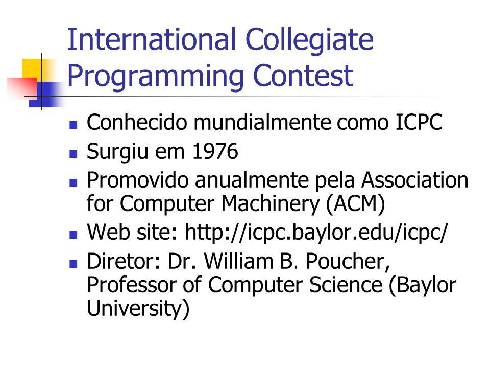 Conhecido mundialmente como ICPC Surgiu em 1976 Promovido anualmente pela Association for Computer Machinery (ACM) Web site: http://icpc.baylor.edu/icpc/ Diretor: Dr.