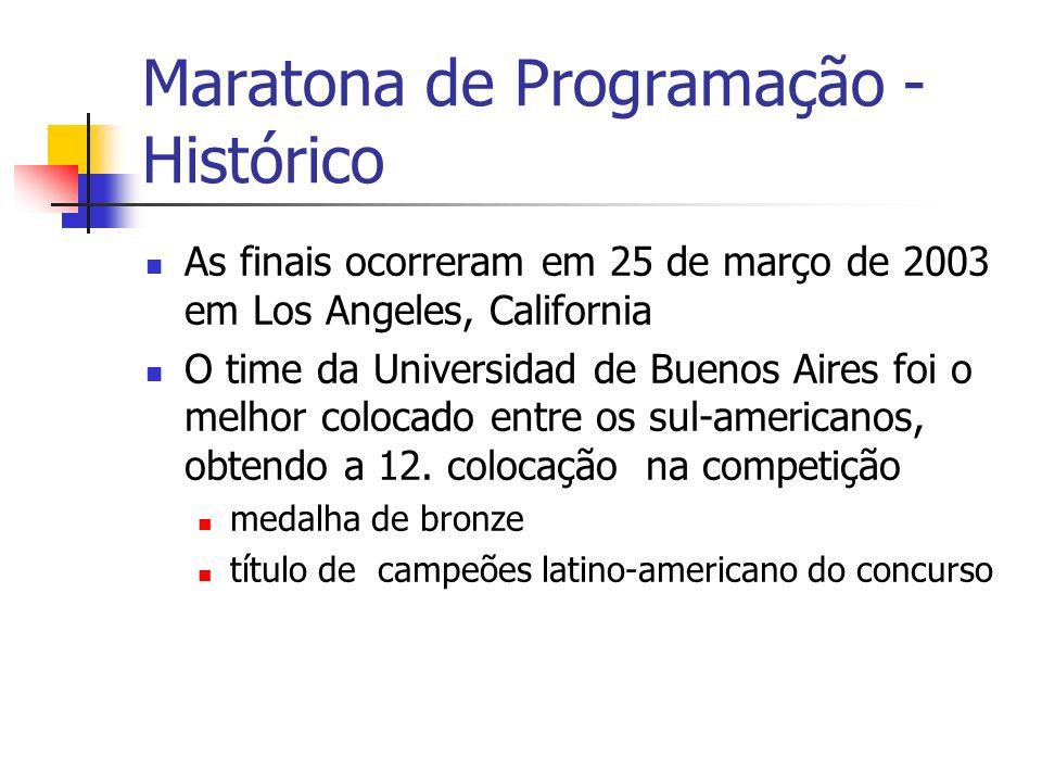 Maratona de Programação - Histórico As finais ocorreram em 25 de março de 2003 em Los Angeles, California O time da Universidad de Buenos Aires foi o melhor colocado entre os sul-americanos, obtendo a 12.