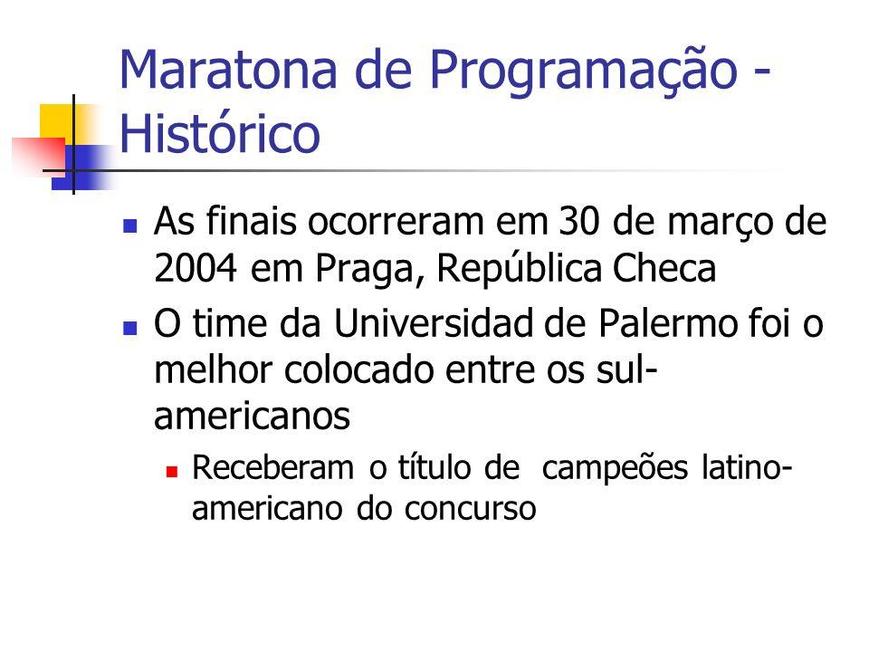 Maratona de Programação - Histórico As finais ocorreram em 30 de março de 2004 em Praga, República Checa O time da Universidad de Palermo foi o melhor colocado entre os sul- americanos Receberam o título de campeões latino- americano do concurso