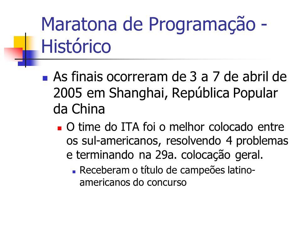 Maratona de Programação - Histórico As finais ocorreram de 3 a 7 de abril de 2005 em Shanghai, República Popular da China O time do ITA foi o melhor colocado entre os sul-americanos, resolvendo 4 problemas e terminando na 29a.