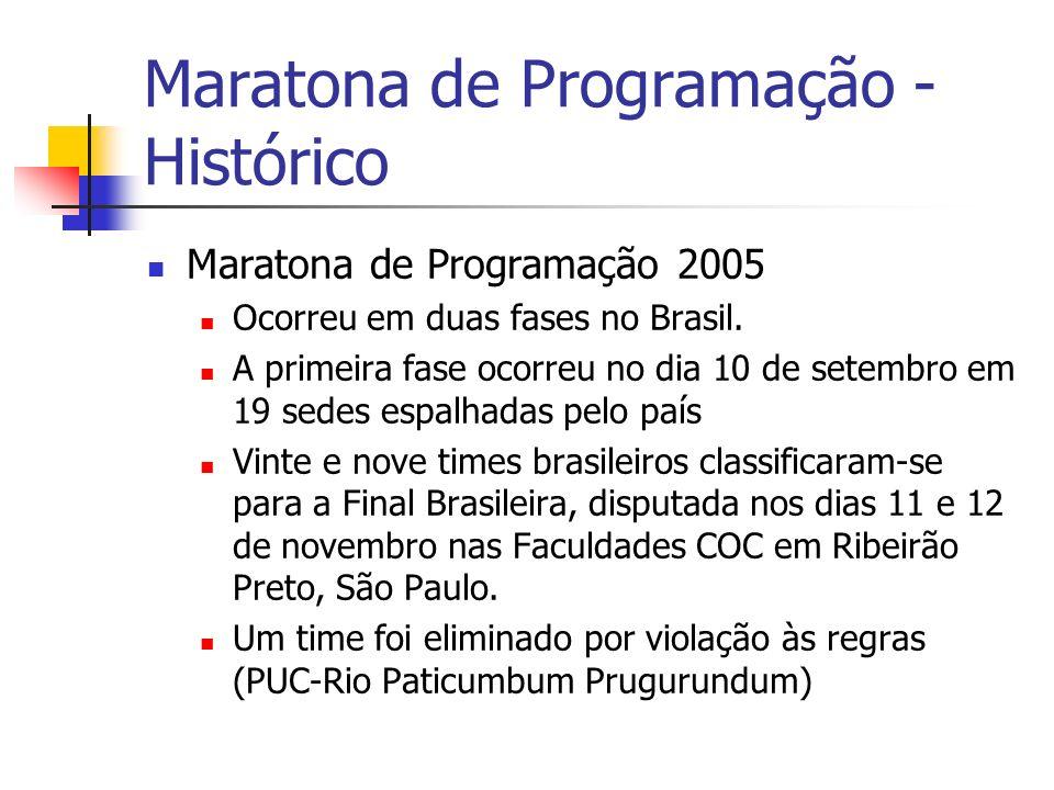 Maratona de Programação 2005 Ocorreu em duas fases no Brasil.