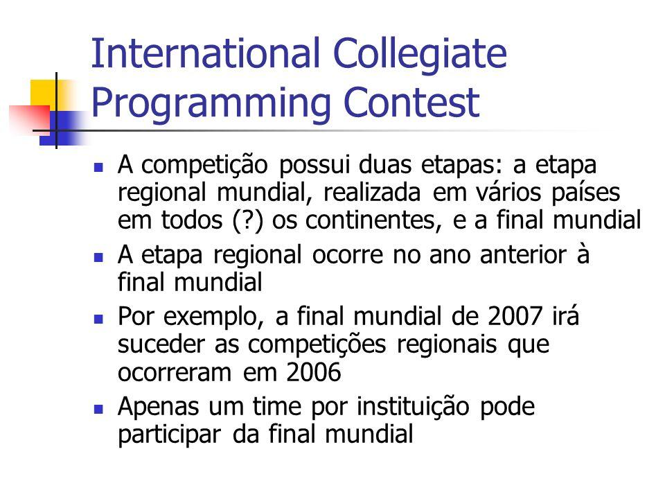 International Collegiate Programming Contest A competição possui duas etapas: a etapa regional mundial, realizada em vários países em todos (?) os continentes, e a final mundial A etapa regional ocorre no ano anterior à final mundial Por exemplo, a final mundial de 2007 irá suceder as competições regionais que ocorreram em 2006 Apenas um time por instituição pode participar da final mundial