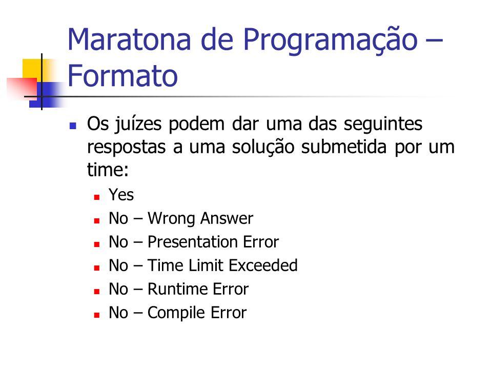 Maratona de Programação – Formato Os juízes podem dar uma das seguintes respostas a uma solução submetida por um time: Yes No – Wrong Answer No – Presentation Error No – Time Limit Exceeded No – Runtime Error No – Compile Error