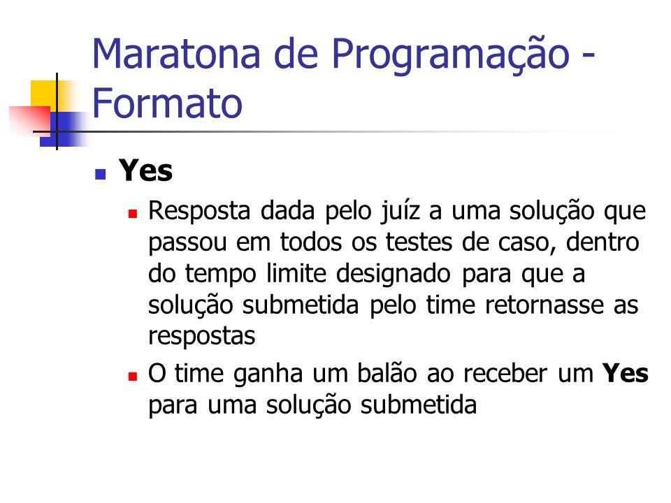 Maratona de Programação - Formato Yes Resposta dada pelo juíz a uma solução que passou em todos os testes de caso, dentro do tempo limite designado para que a solução submetida pelo time retornasse as respostas O time ganha um balão ao receber um Yes para uma solução submetida