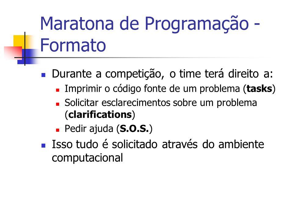 Maratona de Programação - Formato Durante a competição, o time terá direito a: Imprimir o código fonte de um problema (tasks) Solicitar esclarecimentos sobre um problema (clarifications) Pedir ajuda (S.O.S.) Isso tudo é solicitado através do ambiente computacional