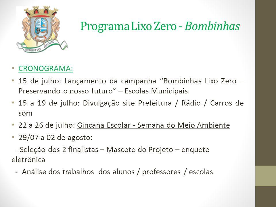 Programa Lixo Zero - Bombinhas CRONOGRAMA: 06 de agosto – Premiação no Auditório da Prefeitura, com a presença da imprensa, alunos, familiares e comunidade Prêmios: Beto Carrero/ Iphone/ Celular/ Máq.