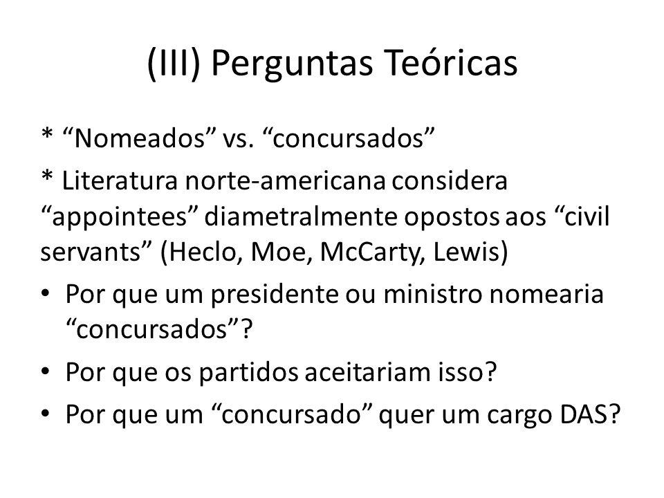 (III) Perguntas Teóricas * Nomeados vs.