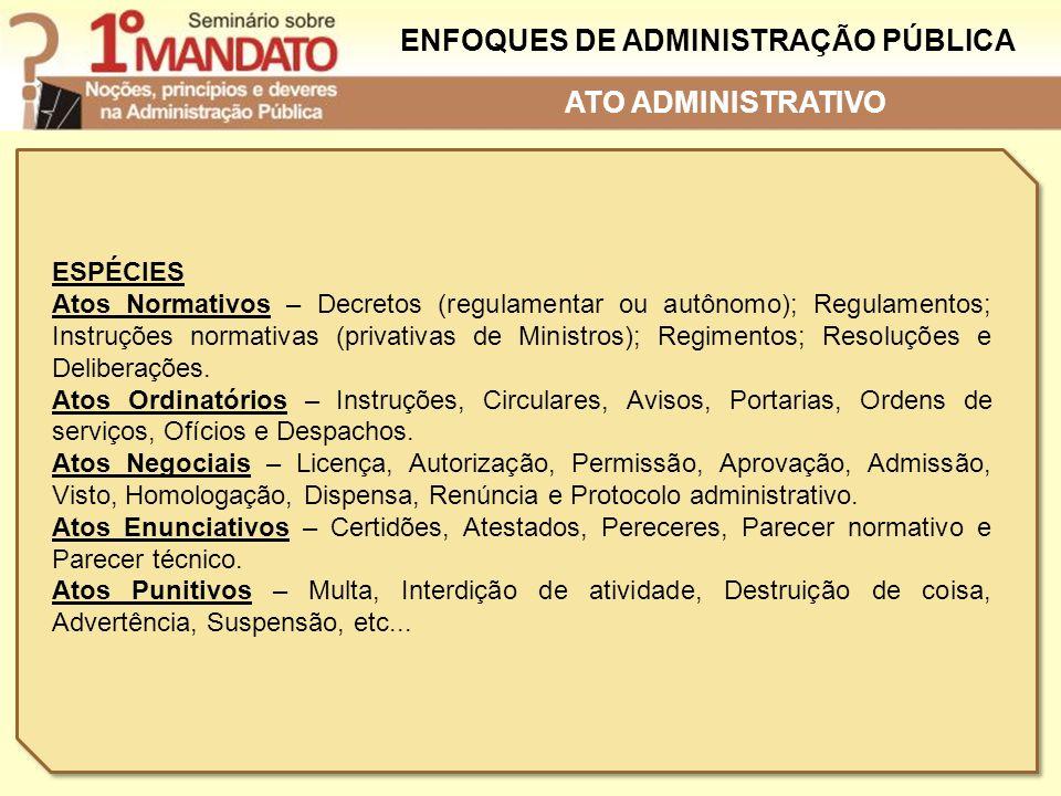 ENFOQUES DE ADMINISTRAÇÃO PÚBLICA ESPÉCIES Atos Normativos – Decretos (regulamentar ou autônomo); Regulamentos; Instruções normativas (privativas de M