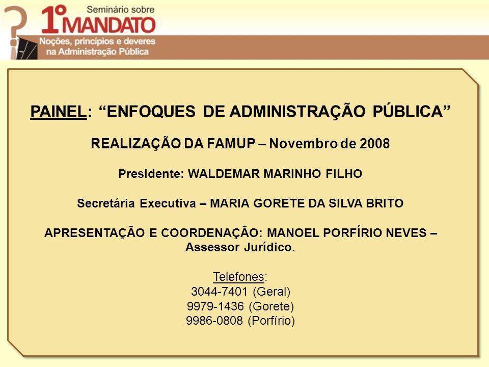 PAINEL: ENFOQUES DE ADMINISTRAÇÃO PÚBLICA REALIZAÇÃO DA FAMUP – Novembro de 2008 Presidente: WALDEMAR MARINHO FILHO Secretária Executiva – MARIA GORET