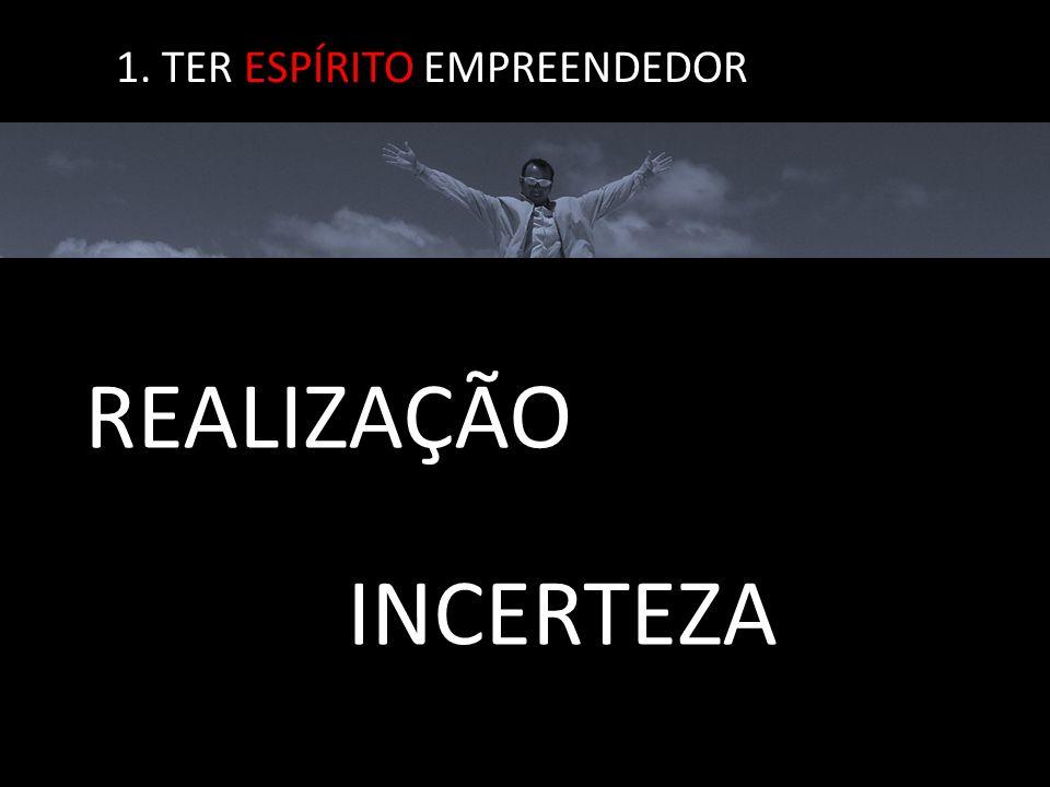 1. TER ESPÍRITO EMPREENDEDOR INCERTEZA REALIZAÇÃO