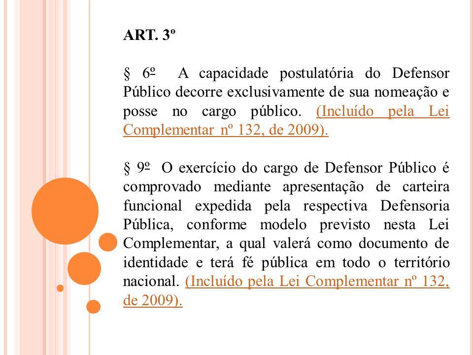 ART. 3º § 6º A capacidade postulatória do Defensor Público decorre exclusivamente de sua nomeação e posse no cargo público. (Incluído pela Lei Complem