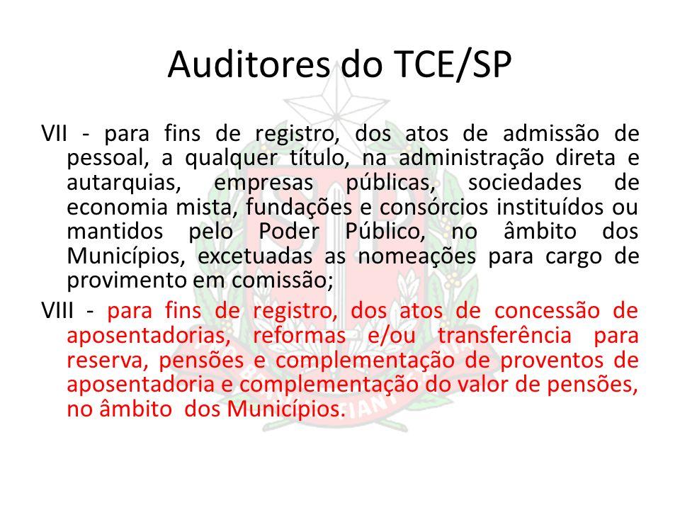 Auditores do TCE/SP VII - para fins de registro, dos atos de admissão de pessoal, a qualquer título, na administração direta e autarquias, empresas pú