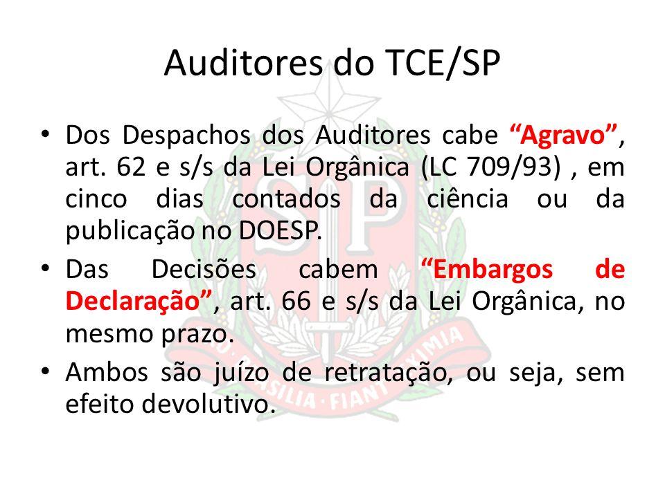 Auditores do TCE/SP Dos Despachos dos Auditores cabe Agravo, art. 62 e s/s da Lei Orgânica (LC 709/93), em cinco dias contados da ciência ou da public