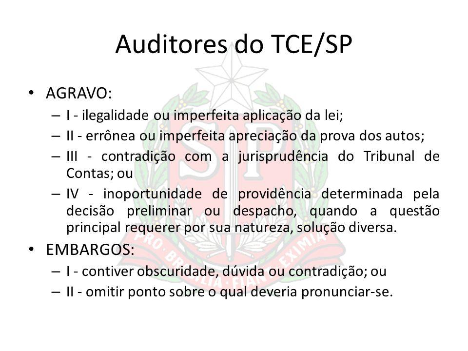 Auditores do TCE/SP AGRAVO: – I - ilegalidade ou imperfeita aplicação da lei; – II - errônea ou imperfeita apreciação da prova dos autos; – III - cont