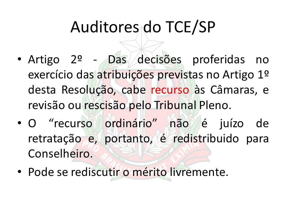 Auditores do TCE/SP Artigo 2º - Das decisões proferidas no exercício das atribuições previstas no Artigo 1º desta Resolução, cabe recurso às Câmaras,
