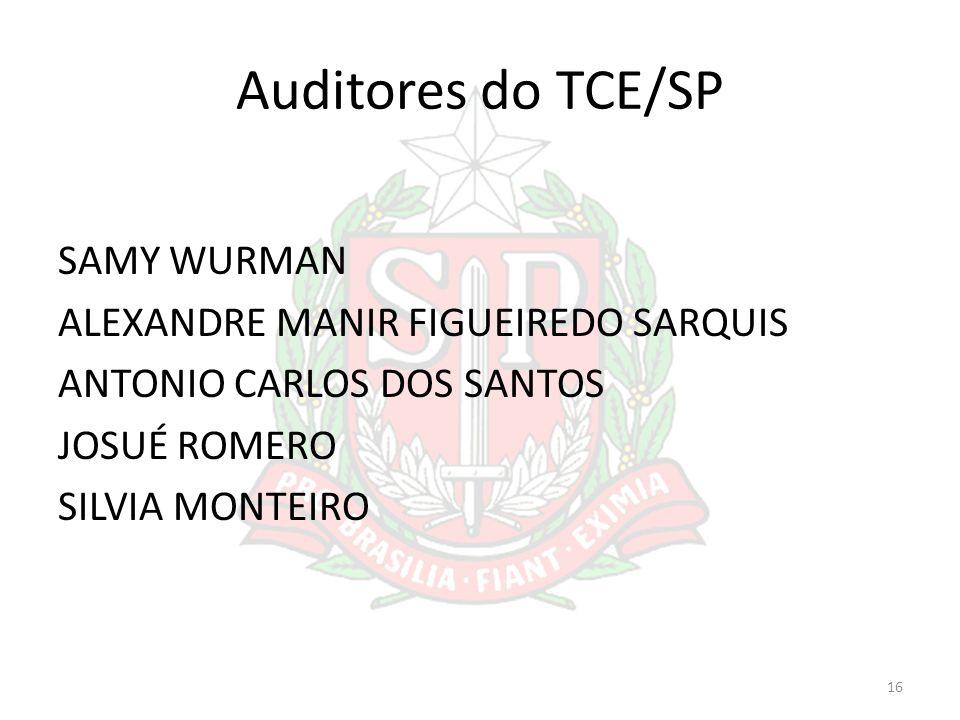 Auditores do TCE/SP SAMY WURMAN ALEXANDRE MANIR FIGUEIREDO SARQUIS ANTONIO CARLOS DOS SANTOS JOSUÉ ROMERO SILVIA MONTEIRO 16