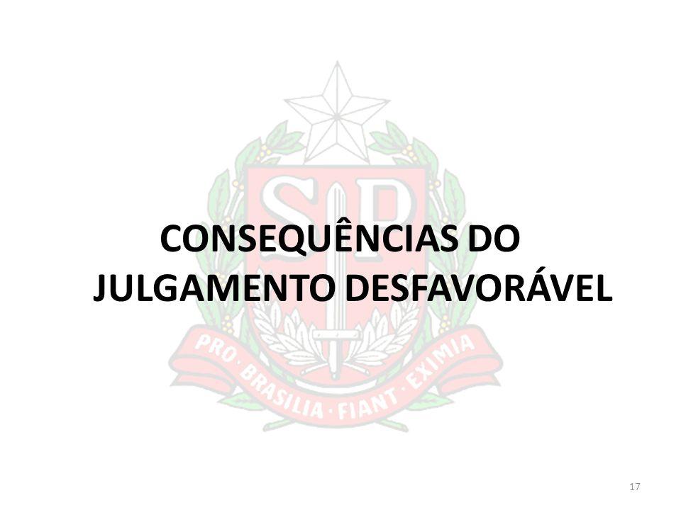 CONSEQUÊNCIAS DO JULGAMENTO DESFAVORÁVEL 17