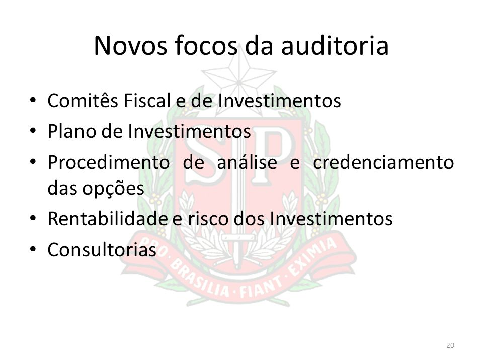 Novos focos da auditoria Comitês Fiscal e de Investimentos Plano de Investimentos Procedimento de análise e credenciamento das opções Rentabilidade e