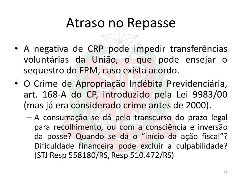 Atraso no Repasse A negativa de CRP pode impedir transferências voluntárias da União, o que pode ensejar o sequestro do FPM, caso exista acordo. O Cri