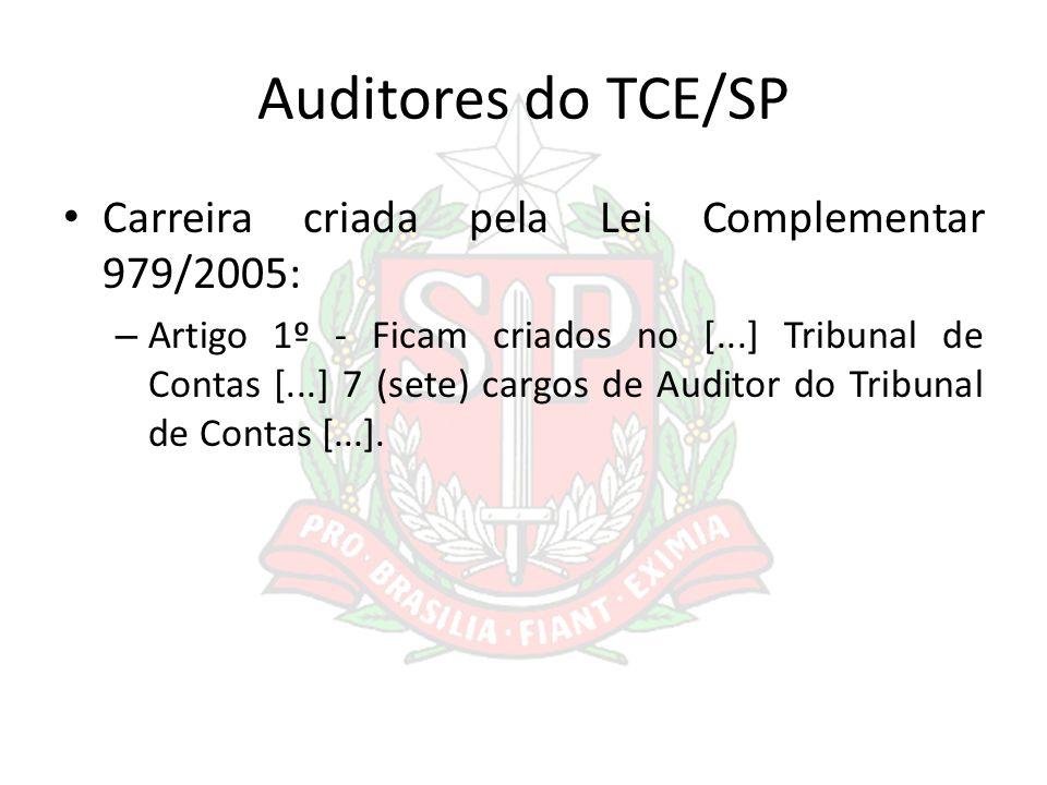 Auditores do TCE/SP Carreira criada pela Lei Complementar 979/2005: – Artigo 1º - Ficam criados no [...] Tribunal de Contas [...] 7 (sete) cargos de A