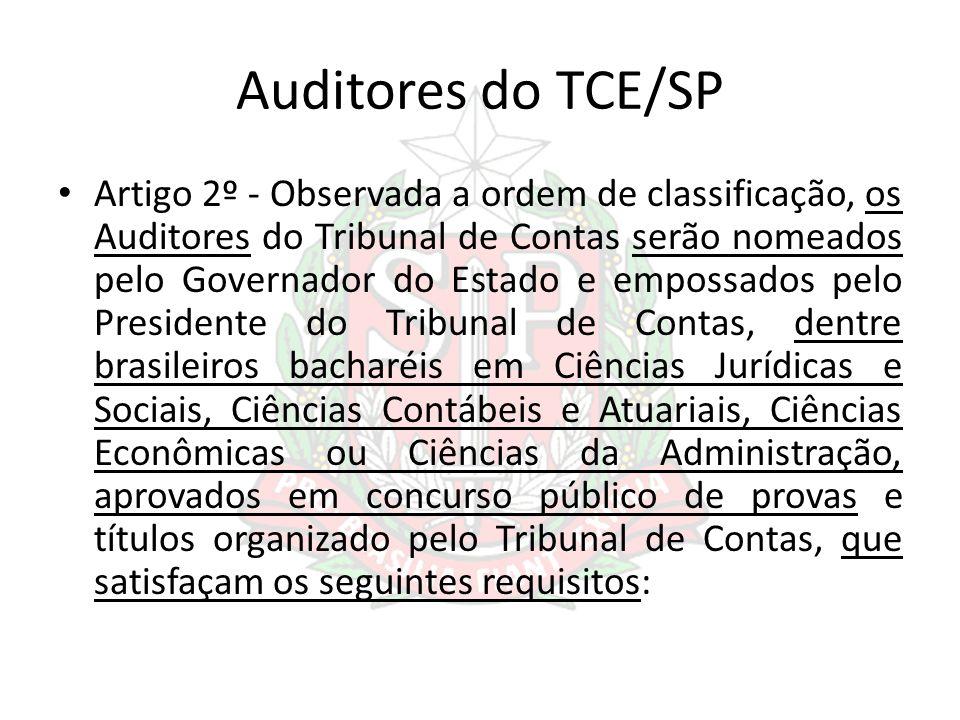 Auditores do TCE/SP Artigo 2º - Observada a ordem de classificação, os Auditores do Tribunal de Contas serão nomeados pelo Governador do Estado e empo