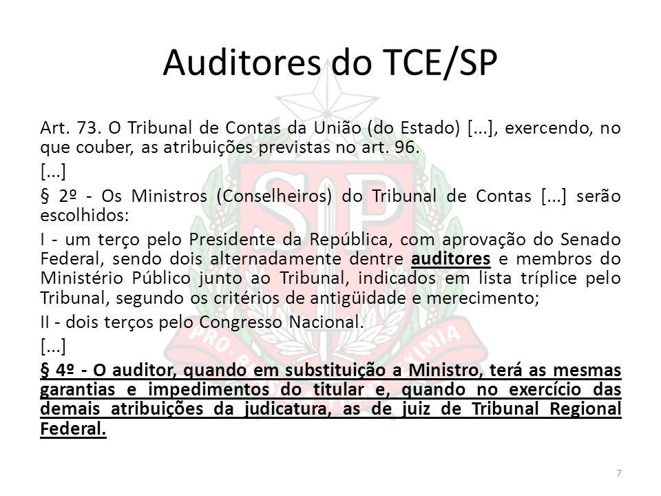 Auditores do TCE/SP Art. 73. O Tribunal de Contas da União (do Estado) [...], exercendo, no que couber, as atribuições previstas no art. 96. [...] § 2