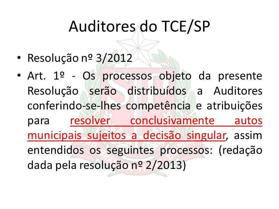 Auditores do TCE/SP Resolução nº 3/2012 Art. 1º - Os processos objeto da presente Resolução serão distribuídos a Auditores conferindo-se-lhes competên