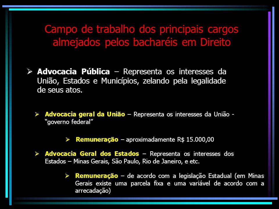 Concurso Público POSSÍVEIS ÁREAS DE ATUAÇÃO Se optar pela carreira jurídica (por carreiras jurídicas públicas) pode tornar-se Delegado de Polícia, Jui