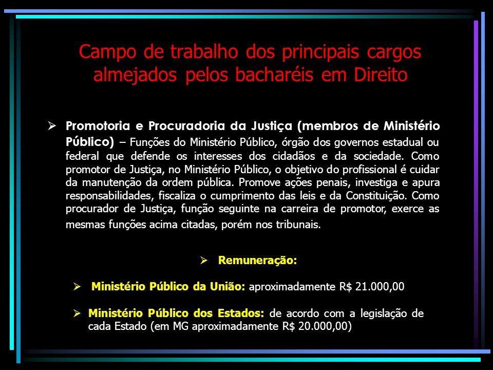 Campo de trabalho dos principais cargos almejados pelos bacharéis em Direito Magistratura – É o profissional que toma as decisões em disputas entre pe