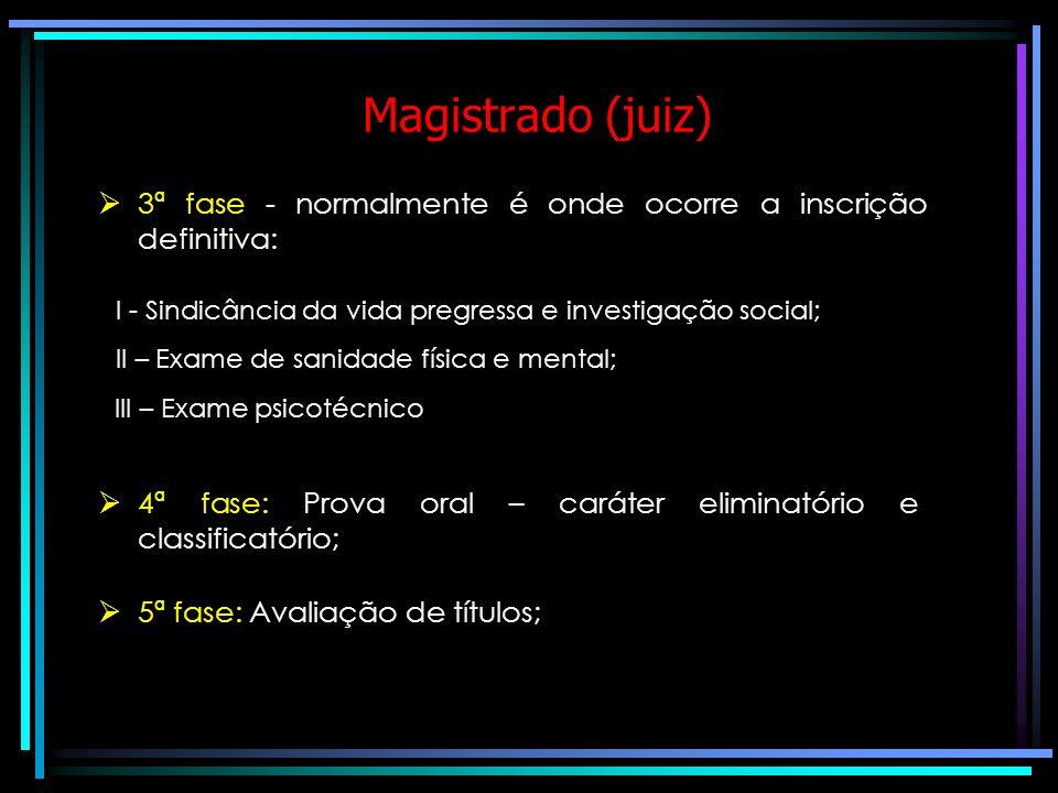 Magistrado (juiz) Normalmente o concurso é composto das seguintes fases: 1ª fase: Prova objetiva – caráter eliminatório e classificatório; Obrigatório