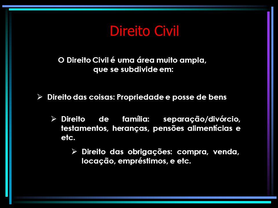 Direito Civil O Direito Civil é uma área muito ampla, que se subdivide em: Direito das coisas: Propriedade e posse de bens Direito de família: separação/divórcio, testamentos, heranças, pensões alimentícias e etc.