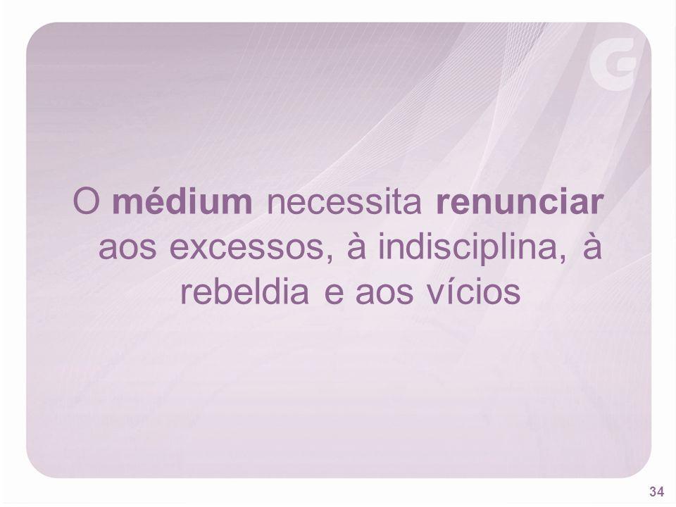 34 O médium necessita renunciar aos excessos, à indisciplina, à rebeldia e aos vícios