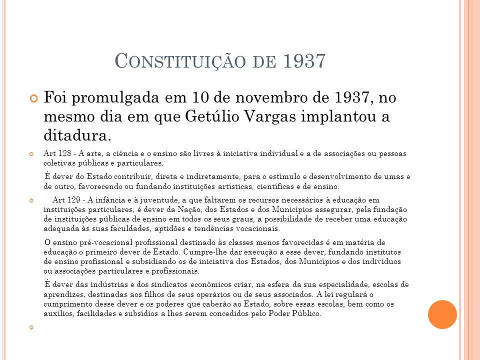 C ONSTITUIÇÃO DE 1937 Foi promulgada em 10 de novembro de 1937, no mesmo dia em que Getúlio Vargas implantou a ditadura.