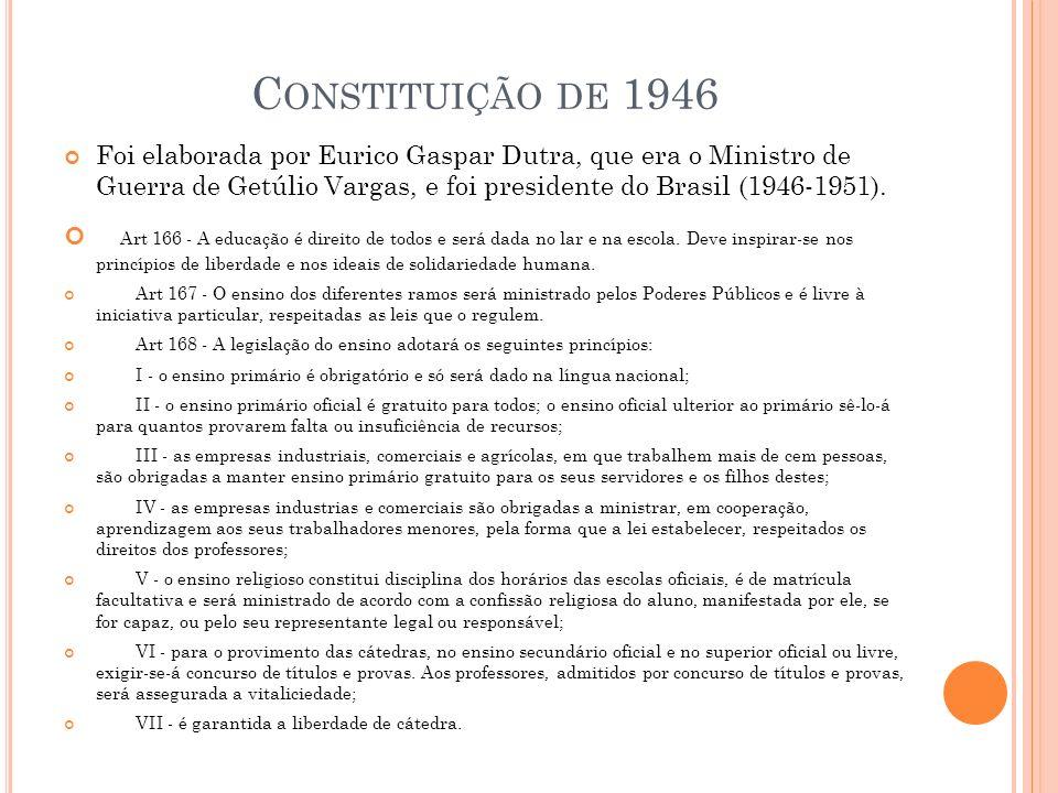 C ONSTITUIÇÃO DE 1946 Foi elaborada por Eurico Gaspar Dutra, que era o Ministro de Guerra de Getúlio Vargas, e foi presidente do Brasil (1946-1951).