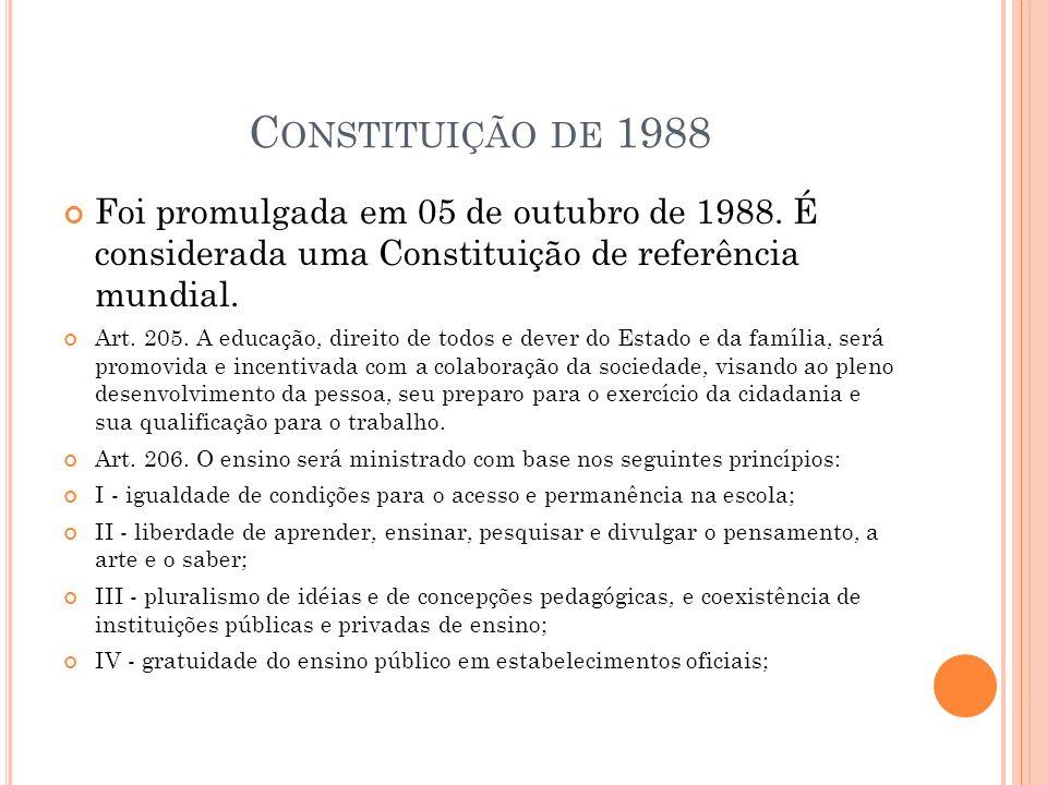 C ONSTITUIÇÃO DE 1988 Foi promulgada em 05 de outubro de 1988.