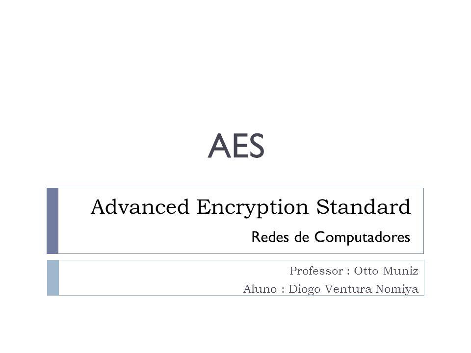 Advanced Encryption Standard Professor : Otto Muniz Aluno : Diogo Ventura Nomiya Redes de Computadores AES