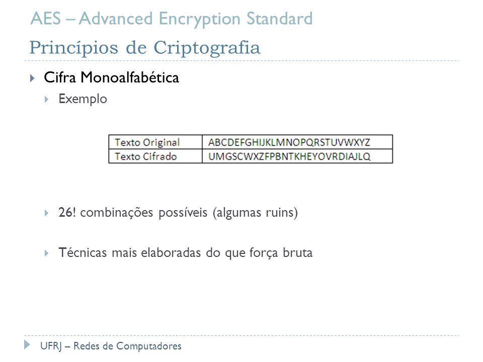 Princípios de Criptografia Cifra Monoalfabética Exemplo 26! combinações possíveis (algumas ruins) Técnicas mais elaboradas do que força bruta UFRJ – R