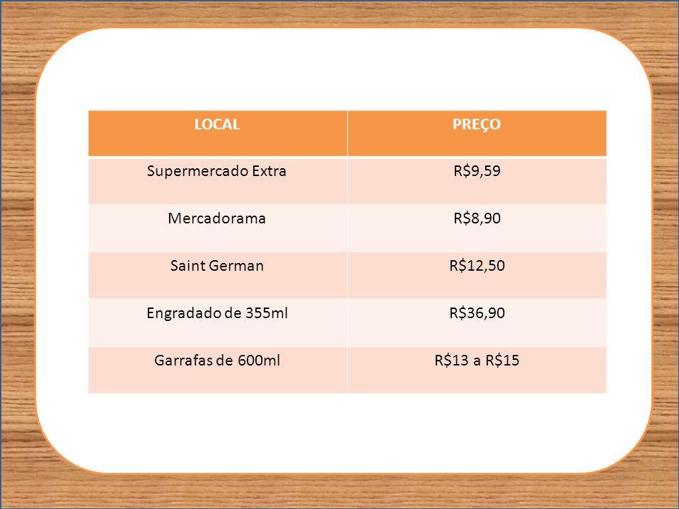 LOCALPREÇO Supermercado ExtraR$9,59 MercadoramaR$8,90 Saint GermanR$12,50 Engradado de 355mlR$36,90 Garrafas de 600mlR$13 a R$15