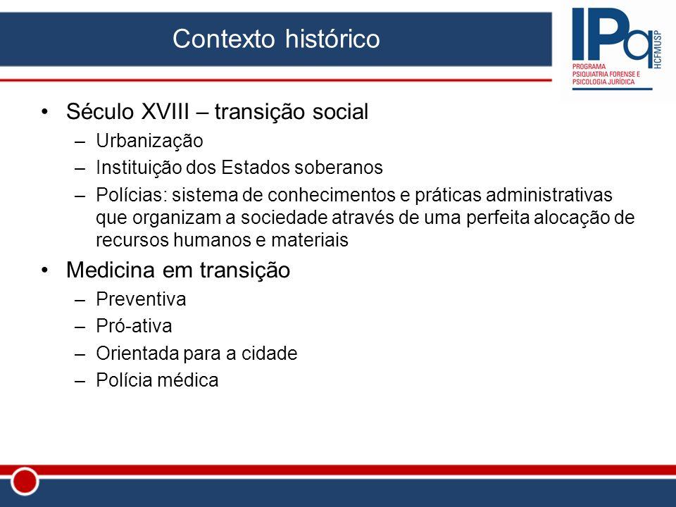 Contexto histórico Século XVIII – transição social –Urbanização –Instituição dos Estados soberanos –Polícias: sistema de conhecimentos e práticas admi