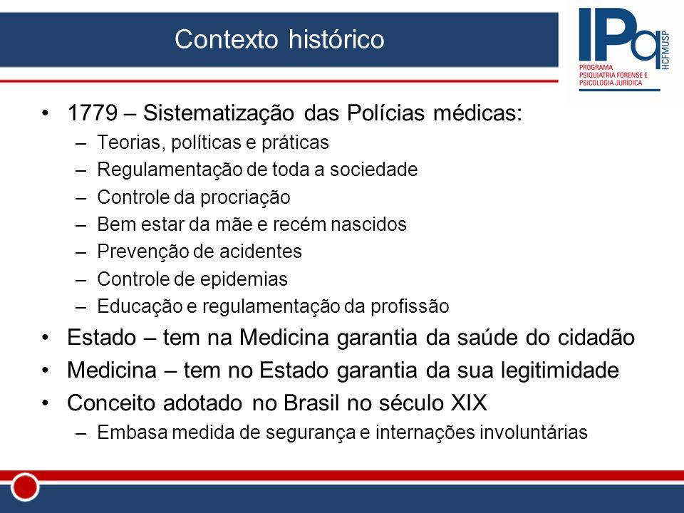 Contexto histórico 1779 – Sistematização das Polícias médicas: –Teorias, políticas e práticas –Regulamentação de toda a sociedade –Controle da procria