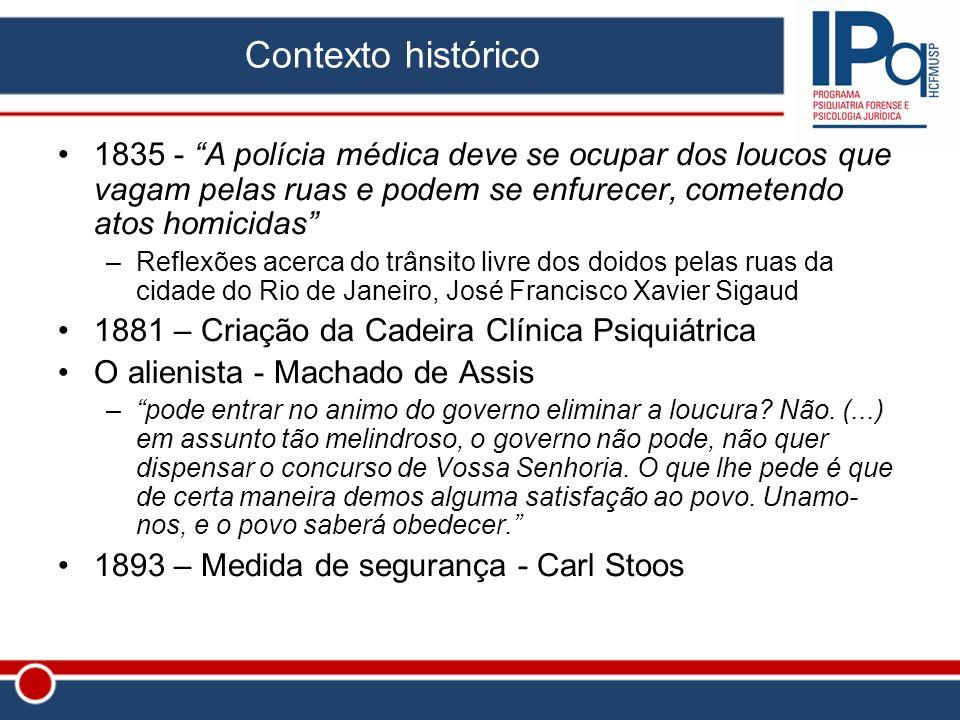 Contexto histórico 1835 - A polícia médica deve se ocupar dos loucos que vagam pelas ruas e podem se enfurecer, cometendo atos homicidas –Reflexões ac