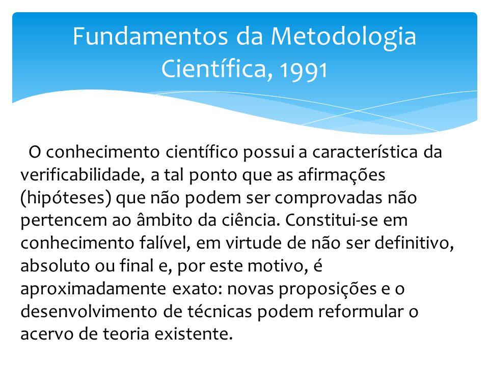Fundamentos da Metodologia Científica, 1991 O conhecimento científico possui a característica da verificabilidade, a tal ponto que as afirmações (hipó